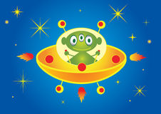 Alien and spaceship Royalty Free Stock Images