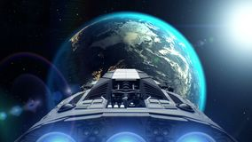 Alien spaceship is approaching Earth. Engines flashing, 3d animation. Texture of the Earth was created in the graphic