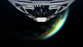 Crescent Earth on background, extraterrestrial sci-fi spaceship approaching to Planet. Powerful engines pulsate and