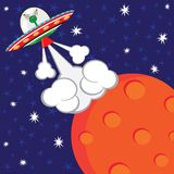 Alien Spaceship Blast-off Birthday Party. Cute little Martian blasts off from his planet Royalty Free Stock Image