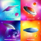 Alien Spaceship Design Concept. Design concept with alien spaceship during space research, galactic tour, as cosmic cruiser isolated vector illustration Royalty Free Stock Photos