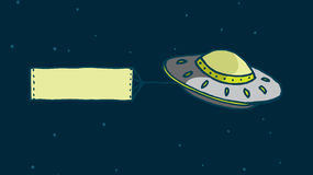 Alien spaceship displaying blank sign Stock Photo