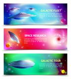 Alien Spaceship Horizontal Banners. Alien spaceship set of horizontal banners with space research, galactic tour, cosmic fleet isolated vector illustration Royalty Free Stock Photo