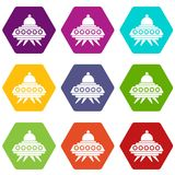 Alien spaceship icon set color hexahedron. Alien spaceship icon set many color hexahedron isolated on white vector illustration Royalty Free Stock Photos