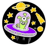 Alien in spaceship Stock Images