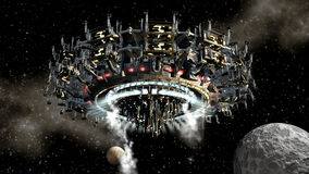 Alien spaceship in interplanetary travel Stock Image