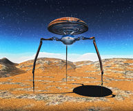 Alien spaceship. Landed on Martian desert planet landscape Vector Illustration