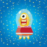 Alien spaceship . orange alien in space vector. Royalty Free Stock Photos