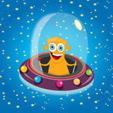 Alien spaceship . orange alien in space vector. Stock Photography