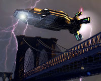 Alien spaceship over the city. An alien spaceship throwing flashes of lightning above the Brooklyn bridge stock images