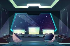 Alien spaceship pilot control panel cartoon vector. Future spaceship captains bridge, command post interior cartoon vector illustration with pilot steering wheel stock illustration