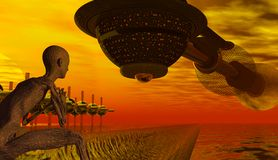 Alien Spaceship Returns Home. Homecoming Spaceship with Alien Watcher Royalty Free Stock Photos
