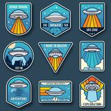 Alien spaceship, spacecrafts and ufo emblems set. Cosmic ship in form saucer for transportation. Color UFO badges set. Alien spaceship, spacecrafts and ufo vector illustration