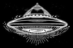 Alien Spaceship. UFO Background. Vector. Stock Photography