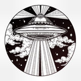 Alien Spaceship. UFO in the sky vector. Abstract fantastic illustration - Alien Spaceship. UFO Background with flying saucer icon in the night sky. Conspiracy Stock Images