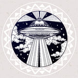 Alien Spaceship. UFO in the sky vector. Royalty Free Stock Photo
