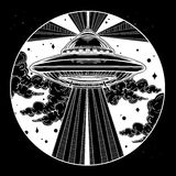 Alien Spaceship. UFO in the sky vector. Abstract fantastic illustration - Alien Spaceship. UFO Background with flying saucer icon in the night sky. Conspiracy Royalty Free Stock Photos