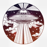 Alien Spaceship. UFO in the sky vector. Abstract fantastic illustration - Alien Spaceship. UFO Background with flying saucer icon in the night sky. Conspiracy Stock Image