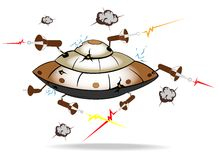 Alien spaceship under attack Royalty Free Stock Image