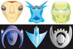 Alien and spaceships icons Stock Photography