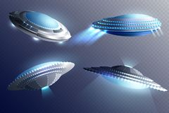 Alien Spaceships Transparent Background Set. Set of glowing alien spaceships in saucer shape isolated on transparent background 3d vector illustration Stock Photos