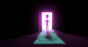 Alien standing in the doorway Royalty Free Stock Image