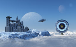 Alien Station. This image shows a alien airport with a door to another world royalty free illustration