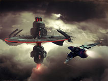 Alien station. Alien aerial shuttle station hiden between the clouds stock illustration