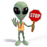 Alien stop sign. Green cartoon alien wearing an orange safety vest and holding a stop sign stock illustration