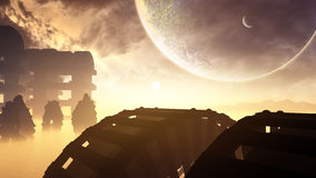 Alien Structures In Distant Planet Royalty Free Stock Photo