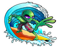Alien Surfing Wave Stock Photography