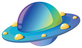 Alien sweethearts. Cartoon illustration of  a flying saucer in a white background Stock Photography