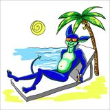 An alien with a tail on vacation is resting on the beach by the Stock Photography