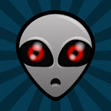 ALIEN. Terrified gray alien with red eyes Royalty Free Stock Photo