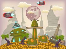Alien town cartoon illustration Royalty Free Stock Photos