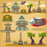 Alien town elements. Cartoon vector illustration of an alien town with elements for games or children books Royalty Free Stock Photo
