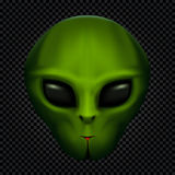 Alien in transparent dark. Green alien face with black eyes on transparent dark background. Invader head. UFO theme Royalty Free Stock Image
