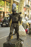 Alien - Travelling entertainer on La Rambla, Barcelona. Alien - Travelling entertainer on La Rambla street, Barcelona Stock Photos