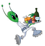 Alien with tray Royalty Free Stock Photos