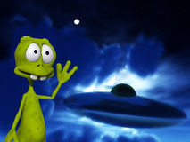 Alien With UFO 2. An image of a cartoon alien waving at a UFO Stock Image