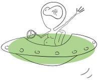 Alien in UFO Stock Image