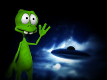 Alien With UFO. An image of a cartoon alien waving at a UFO Royalty Free Stock Image