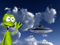 Alien With UFO 4. An image of a cartoon alien waving at a UFO Royalty Free Stock Photo