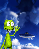 Alien With UFO 5. An image of a cartoon alien waving at a UFO Royalty Free Stock Image