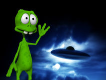 Alien With UFO 6. An image of a cartoon alien waving at a UFO Royalty Free Stock Photo