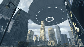 Alien UFO above apocalyptic Time Square New York Manhattan. 3D rendering. 3D rendering of a futuristic ruined city scape on Time Square New York Manhattan. An Royalty Free Stock Images