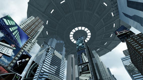 Alien UFO above Time Square New York Manhattan. 3D rendering. 3D rendering of a futuristic city scape on Time Square New York Manhattan. An alien UFO is Royalty Free Stock Photography