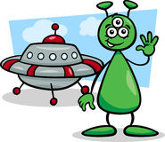 Alien with ufo cartoon illustration Royalty Free Stock Image