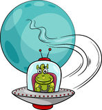 Alien in ufo cartoon illustration Royalty Free Stock Image