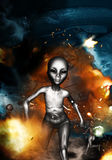 An Alien In Ufo Crash Sites. 3D illustration of an alien in ufo crash sites,concept background for science fiction book cover Stock Photos